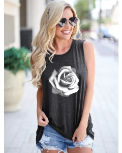 Dresswel Women Sketch Style Rose Floral Printing Sleeveless Round Neck Tank Tops
