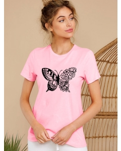 Dresswel Women Butterfly Floral Printing Crew Neck Short Sleeve Summer T-shirt Top