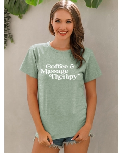 Dresswel Women Coffee Massage Therapy Letter Graphic Print Short Sleeve Tee Tops