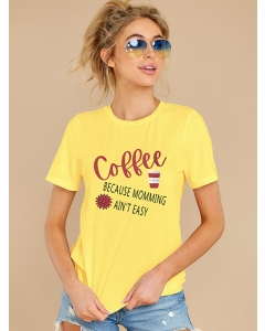 Dresswel Women Coffee Because Moming Ain't Easy Daisy and Coffee Cup T-shirt Tops
