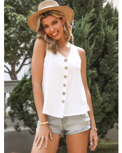Dresswel Women Solid Color V Neck Buttons Down Sleeveless Casual Stylish Slim Tank Tops