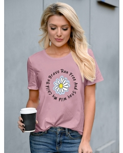 Dresswel Women Be Brave Run Free And Stay Wild My Child Letter Daisy Print Tee Top
