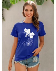 Dresswel Women Graphic Print Casual Round Neck Short Sleeve Loose T-shirt Tops