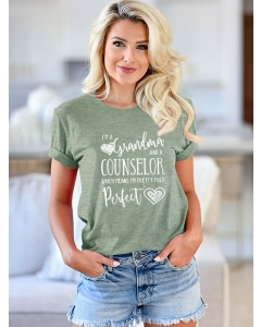 Dresswel Women I'm a Grandma And a Counselor Which Means I'm Pretty Print Tee Tops
