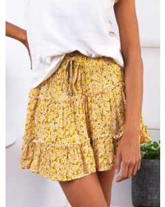 Dresswel Women High Waist Elasticated Ruffled Floral Printed Beach A-line Mini Skirt