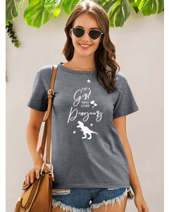 Dresswel Women Just A Girl Who Loves Dinosaurs Printed Cute Comfy T-Shirts Tops