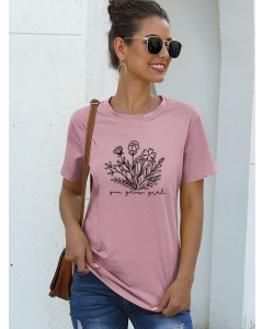 Dresswel Women You Grow Girl Letter Floral Graphic Printed Basic Summer Tee Tops