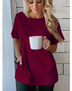 Dresswel Women Solid Color Pockets Crew Neck Short Sleeve Relaxed Fit T-shirt Tops