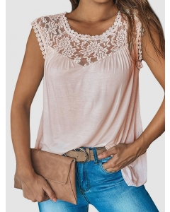 Dresswel Women Solid Color Blouse Stitching Lace Sleeveless Embroidery Vest Tank Tops