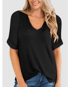 Dresswel Women Solid Color Stitching V Neck Rolled Cuff Short Sleeve Waffle Tee Top