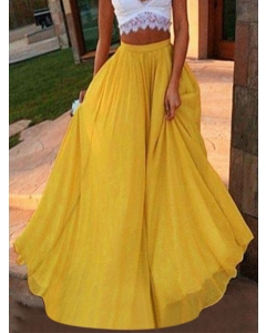 Dresswel Women Chiffon Skirt Solid Color Swing Skirt Vacation Beach Long Skirt Fairy Skirt