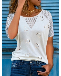 Dresswel Women Heart Printed Lace Crochet Cutout Short Sleeve Crew Neck T-shirt Tops