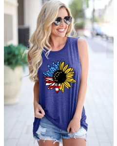 Dresswel Women Sunflower American Flag Printing Sleeveless Crew Neck Tank Tops