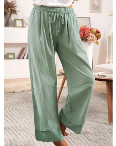 Dresswel Women Solid Color Elastic High Waist Wide-Legged Casual Simple Comfy Pants