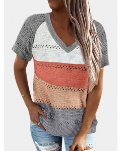 Dresswel Women Stripe Colorblock V Neck Short Sleeve Casual Knitted T-Shirts Tops