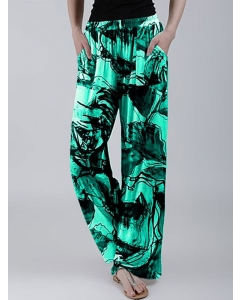 Dresswel Women Loose Floral Tie-dye Printed Casual Trousers Wide-leg Pants with Pockets