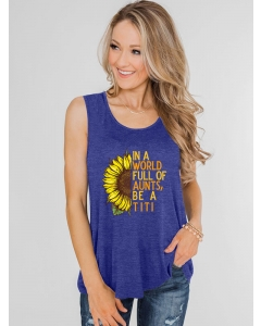 Dresswel Women In A World Full Of Aunts Be A TiTi Letter Sunflower Printing Tank Top