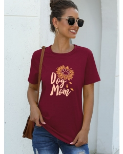 Dresswel Women Mothers Day Sunflower Print Tee Dog Mom Letter Graphic T-shirt Tops