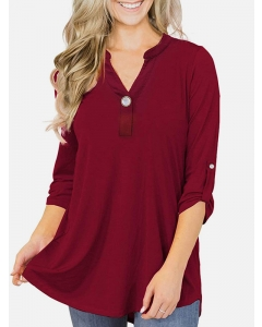 Dresswel Women Solid Color V Neck Buttons Adjustable Sleeve Flowy Casual Loose Blouse Tops