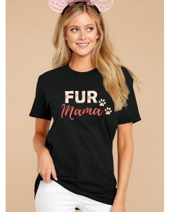 Dresswel Women Cute Bear Paw Fur Mama Letter Print Mother' Day T-Shirt Tops