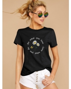 Dresswel Women Do What You Love Love What You Do Letter Print T-Shirt Tops