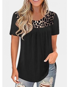 Dresswel Women Short Sleeve Pleated Round Neck Leopard Patchwork T-Shirt Tops