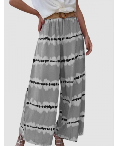 Dresswel Women Tie Dye Printed Wide-Legged Elastic Casual Relaxed Fashion Pants