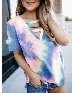 Dresswel Women Tie Dye Printed Cutout V Neck Short Sleeve Casual Relaxed T-Shirts Tops
