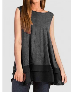 Dresswel Women Solid Color Overlay Hem Lace Patchwork Sleeveless T-shirt Tops