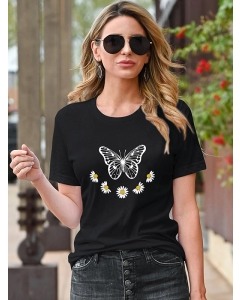 Dresswel Women Butterfly and Daisy Print Round Neck Short Sleeved Graphic T-shirt Tops