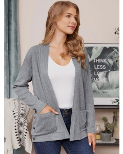 Dresswel Women Solid Color Long Sleeve Open Front Cardigan with Buttons Pockets Tops