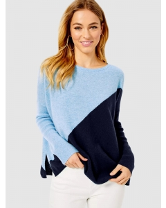 Dresswel Women Colorblock Long Sleeve Pullover Round Neck Loose Fit Sweater Tops
