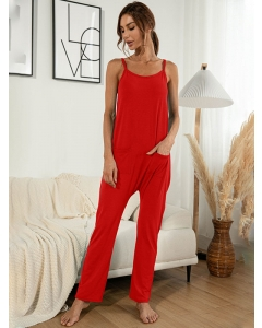 Dresswel Women Solid Color Crew Neck Spaghetti Strap Sleeveless Pockets Backless Jumpsuit