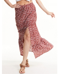 Dresswel Women Floral Printed Elastic High Waist Side Split Fashion Beach Skirts