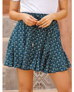 Dresswel Women High Waist Floral Printed Elastic A-Line Fashion Mini Skirts