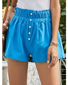 Dresswel Women Summer Solid Color Elastic Wasit Buttons Decoration Shorts Bottom