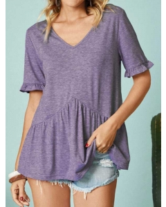 Dresswel Women Solid Color V Neck Comfy Ruffled Short Sleeve Casual Fashion T-Shirts Tops
