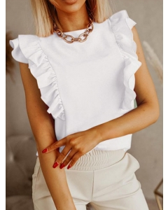 Dresswel Women Solid Color Strappy Backless Ruffle Cap Sleeve Crew Neck Blouse Top