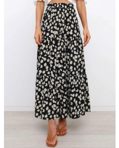 Dresswel Women Daisy Floral Print Spliced High Waist Ankle Length A-Line Skirt