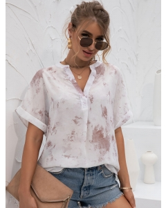 Dresswel Women Summer Loose Fit Style Half Sleeve V Neck Tie-Dyed T-Shirt Tops