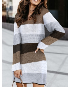 Dresswel Women Color Block Lace Stitching Cutout V-Neck Casual Long Sleeve Sweater Dress