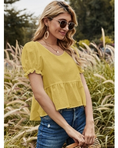 Dresswel Women Puff Sleeve Solid Color Round Neck Bandage Open Back T-Shirt Tops