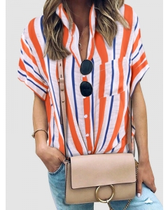 Dresswel Women Casual Vertical Stripes Colorblock Short Sleeve Tops Shirts with Buttons