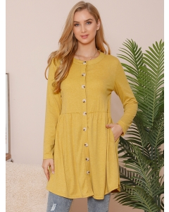 Dresswel Women Solid Color Button Stitching Long Sleeve Tunic Cardigan Tops
