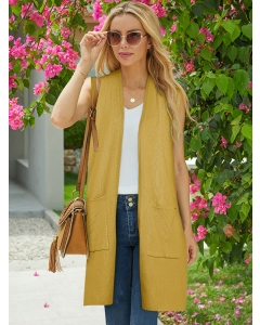 Dresswel Women Solid Color Pocket Patchwork Open Front Sleeveless Casual Cardigans