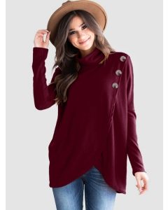 Dresswel Women Solid Color Button Cowl Neck Long Sleeve Overlap Pullover Tunic Tops