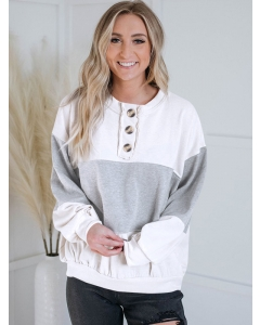 Dresswel Women Color Block Button Crew Neck Long Sleeve Stitching Warm Baggy Pullover Top