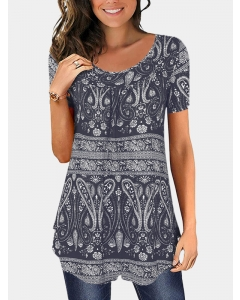 Dresswel Women Floral Print Round Neck Short Sleeve Loose Fit Tunic Tops