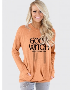 Dresswel Women Good Witch Most Of The Time Letter Print Pocket Long Sleeve T-shirt