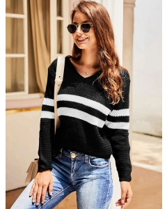 Dresswel Women Stripe Two Tone Long Sleeve V Neck Autumn Casual Knitted Sweater Tops